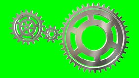 Isolate Rotating Gears loop. Animated rotating gears on green background loop stock video