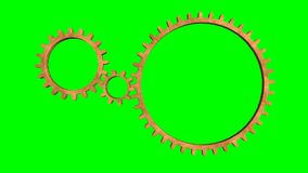 Isolate Rotating Gears loop. Animated rotating gears on green background loop stock footage
