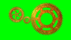 Isolate Rotating Gears loop. Animated rotating gears on green background loop stock video footage