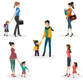 Isolate set of moms with children Royalty Free Stock Photos