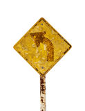 Isolate sign three traffic turn moldy old rusty weathered. stock photography