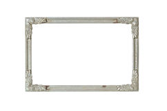 Isolate silver frame. Old silver frame with rust Royalty Free Stock Image