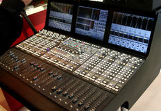 Audio mixer, music mixer board. Isolate image of sound edit equipment board Stock Images