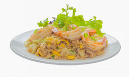 Isolate on white with clipping path of close up of shrimp fried Stock Image