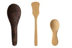 Isolate Wood Spoon Set. On white background royalty free stock photo