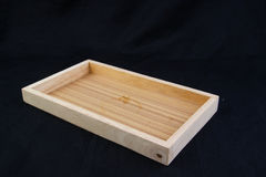 Isolate wooden long tray with edge on black back ground,with work path. Isolate wooden tray with edge on black back ground,with work path royalty free stock image