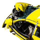 Isolate yellow car accident. Stock Photography