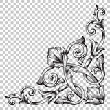 Isolateckverzierung in der barocken Art Stockbilder