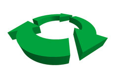 Isolated 3D green recycle symbol Stock Images