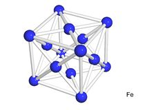 Isolated 3D model of a crystal lattice of iron Stock Image