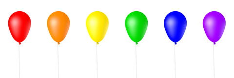 Isolated 3d Rendered Balloons. Collection of Rainbow Colored, 3d Rendered Balloons on a White Background Stock Illustration