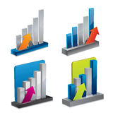 Isolated 3d vector graph set with arrows Royalty Free Stock Image