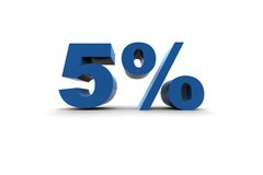 Isolated 5% - 3d illustration Stock Photo