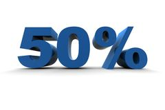 Isolated 50%. 3d illustration on white background Royalty Free Stock Photography