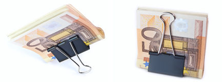 The isolated 50 euros. The isolated denominations in 50 euros in a writing clip Stock Photo
