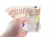 The isolated 50 euros. The isolated denominations in 50 euros in a hand Stock Photo