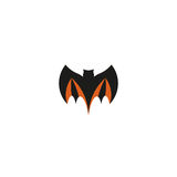 Isolated abstract black color flying bat logo. Halloween element on white background. Night animal logotype. Vampire Royalty Free Stock Images