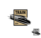 Isolated abstract black color train in brown square logo on white background, monochrome modern railway transport Royalty Free Stock Photography