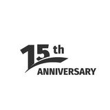 Isolated abstract black 15th anniversary logo on white background. 15 number logotype. Fifteen years jubilee celebration Stock Image
