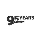 Isolated abstract black 95th anniversary logo on white background. 95 number logotype. Ninety-five years jubilee Stock Images