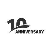 Isolated abstract black 10th anniversary logo on white background. 10 number logotype. Ten years jubilee celebration. Icon. Tenth birthday emblem. Vector Stock Illustration