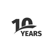 Isolated abstract black 10th anniversary logo on white background. 10 number logotype. Ten years jubilee celebration Royalty Free Stock Photography