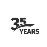 Isolated abstract black 35th anniversary logo on white background. 35 number logotype. Thirty-five years jubilee. Celebration icon. Thirty-fifth birthday emblem Royalty Free Stock Photos