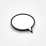 Isolated abstract black and white color comic speech balloon icon on checkered background, dialogue box sign, dialog. Frame vector illustration Royalty Free Stock Image