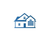 Isolated abstract blue color house contour logo. Real estate building logotype. Purchase property business icon Stock Photo