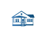 Isolated abstract blue color house contour logo. Real estate building logotype. Purchase property business icon Royalty Free Stock Photos
