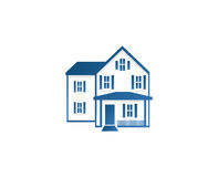 Isolated abstract blue color house contour logo. Real estate building logotype. Purchase property business icon Royalty Free Stock Images