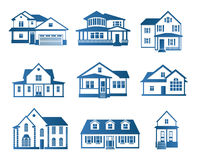 Isolated abstract blue color house contour logo set. Real estate building logotype collection. Purchase property Stock Image