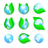 Isolated abstract blue earth hemispheres in green leaf logo set. Natural pure liquid logotype collection. Planet globe. Symbol. Fresh drink icon. Dew sign Royalty Free Stock Image