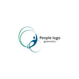 Isolated abstract blue and green color human body silhouette with circular elements logo on white background vector Royalty Free Stock Photos