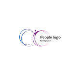 Isolated abstract blue and purple color human body silhouette with circular elements logo on white background vector Stock Images
