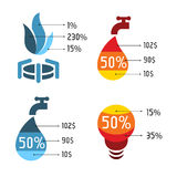 Isolated abstract blue and red vector logos set. Utilities services icons. Stock Photo
