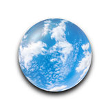 Isolated abstract blue sky with cloudy in the glass ball on white background with clipping path Stock Image