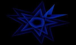 Isolated Abstract Blue Star On Black Background. Abstract Isolated Blue Star with Pure Black Background Royalty Free Stock Image