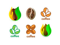 Isolated abstract coffee bean logo set. Eco energetic drink logotype collection. Natural seed icon. Brown drop in palm Stock Photography