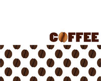 Isolated abstract coffee beans background. Energetic caffeine drink logo. Cafe logotype. Vector illustration. Royalty Free Stock Image