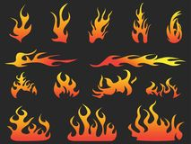 Abstract color fire patterns on black background Stock Photography