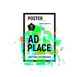 Isolated abstract colorful broken glass explosion in rectangular frame, ad place poster in green shades,geometric. Elements vector illustration Royalty Free Stock Photography