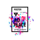 Isolated abstract colorful broken glass explosion in rectangular frame, ad place poster in pink shades,geometric. Elements vector illustration royalty free illustration