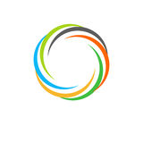 Isolated abstract colorful circular sun logo. Round shape rainbow logotype. Swirl, tornado and hurricane icon. Spining Stock Photography