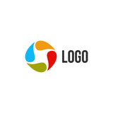 Isolated abstract colorful drops circle logo. Liquid circulation logotype. Kids art school icon, Round paint sign. Natural symbol. Vector drops illustration royalty free illustration