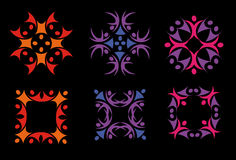 Isolated abstract colorful floral decorative elements logos set on black background vector illustration. Isolated abstract colorful floral decorative elements Stock Illustration