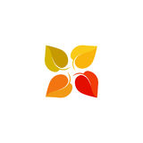 Isolated abstract colorful leaves logo. Foliage cross logotype. Autumn sign. Fall symbol. Air conditioning system icon Royalty Free Stock Images