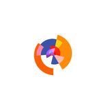Isolated abstract colorful pie chart logo, round shape diagram logotype, infographic element vector illustration.  Royalty Free Stock Images