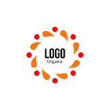 Isolated abstract colorful round shape red and orange color logo. Spining spiral logotype. Autumn leaves circle icon Royalty Free Stock Images