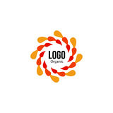 Isolated abstract colorful round shape red and orange color logo. Spining spiral logotype. Autumn leaves circle icon Royalty Free Stock Photography